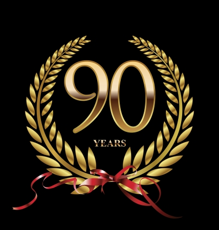 90: 90 years Anniversary golden label Illustration