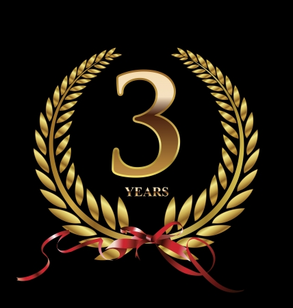 congratulations sign: 3 years Anniversary golden label