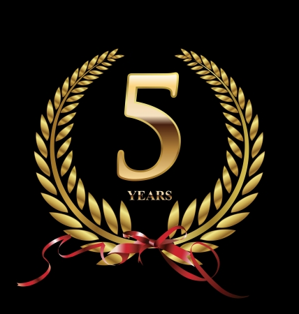 5 jaar jubileum gouden label Stock Illustratie