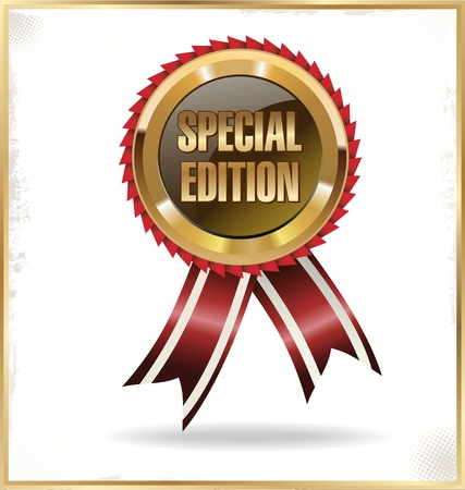 special service: Red label with ribbons