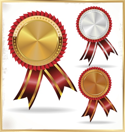 first prize: gold, silver and bronze medal