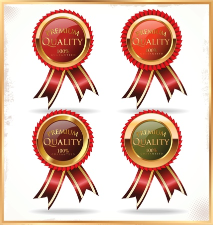 premium quality: Red and gold labels Illustration