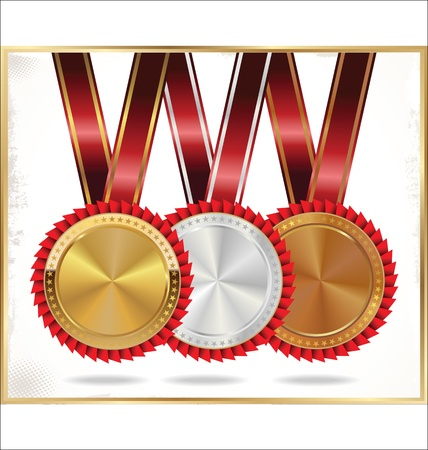 gold, silver and bronze medal set Vector