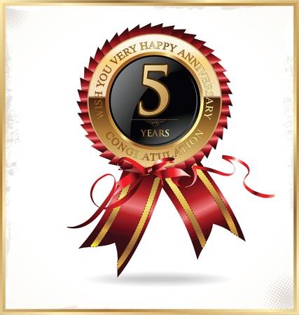ruban noir: 5 ans étiquette d'anniversaire