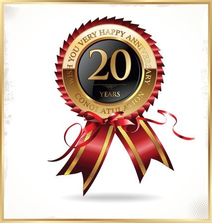 20 年記念日のラベル  イラスト・ベクター素材