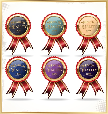badge with ribbon: Premium quality labels Illustration