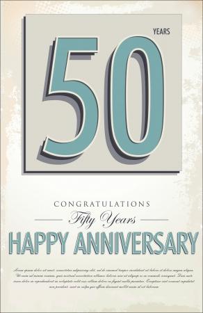 50: 50 years anniversary retro background