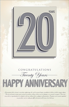 20th: 20 years anniversary retro background Illustration