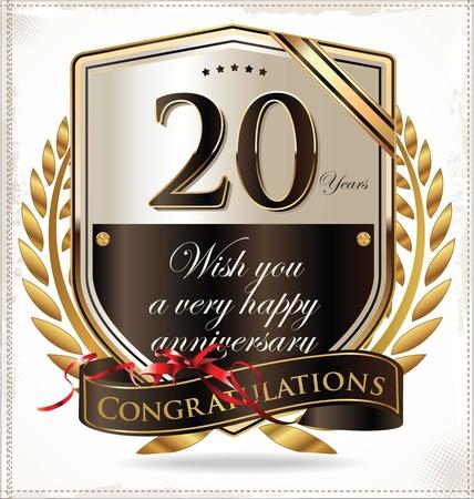 20th: 20 years anniversary golden label  Illustration
