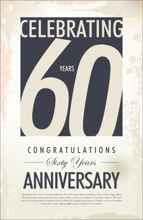 60 years anniversary retro background Vector