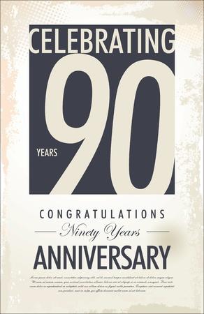 90th: 90 years anniversary retro background Illustration
