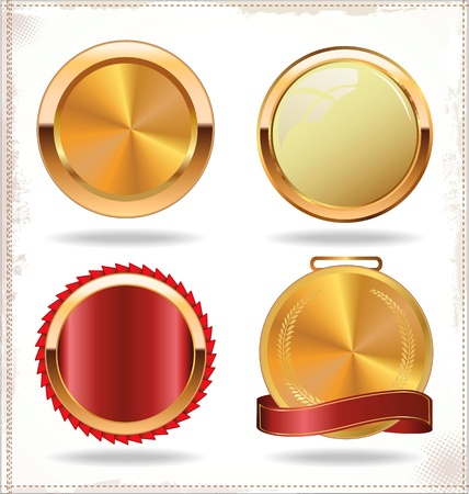 wax glossy: Vector badges of gold and red seal set