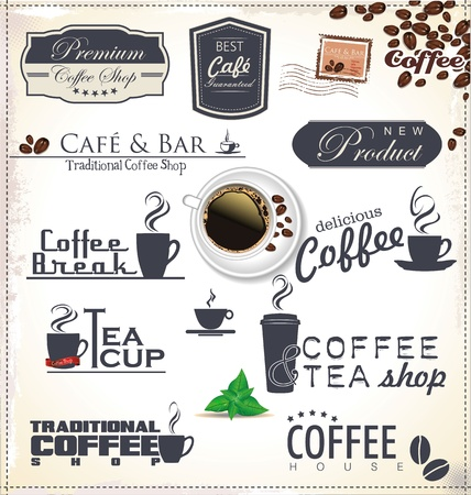 chicchi caff� su sfondo bianco: Etichette di caff� e distintivi