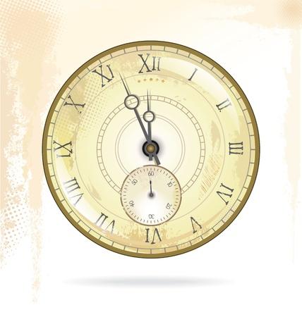 winder: Old vintage clock face Illustration