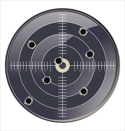 shooter: Target with bullet holes Illustration