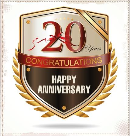 20 years anniversary label Vektoros illusztráció