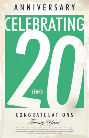 20: 20 a�os aniversario fondo retro Vectores