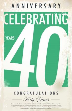40 years Anniversary retro background