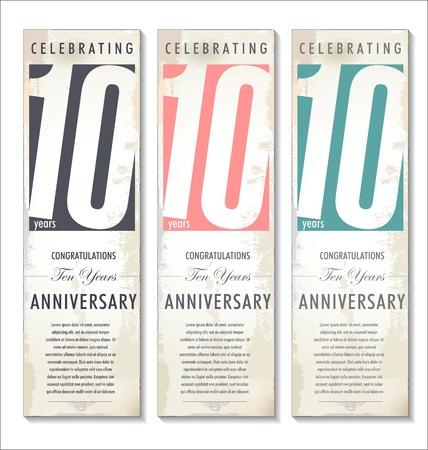 anniversario matrimonio: 10 anni anniversario sfondo retr� Vettoriali