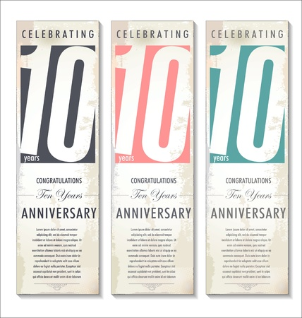anniversary invitation: 10 years anniversary retro background