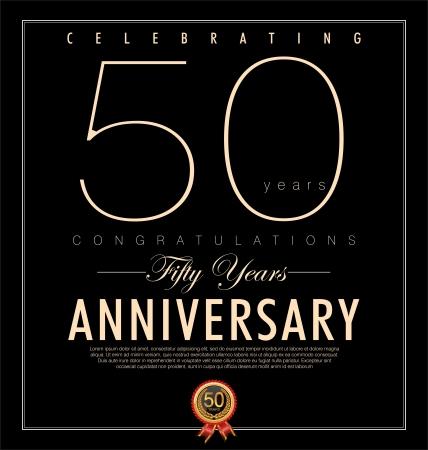 aniversario: 50 a�os de fondo negro Aniversario Vectores