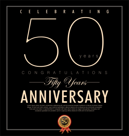 birthday invitation: 50 years Anniversary black background