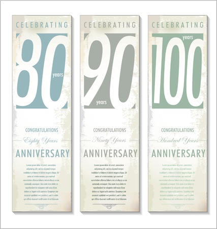 90 years: Anniversary retro banner, set