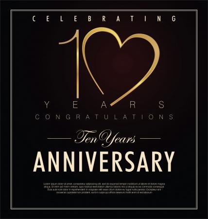 aniversario: 10 a�os aniversario fondo retro Vectores