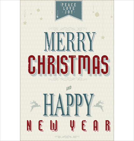 happy new year text: Vintage Christmas Background