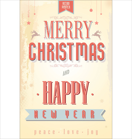 old style lettering: Vintage Christmas Background