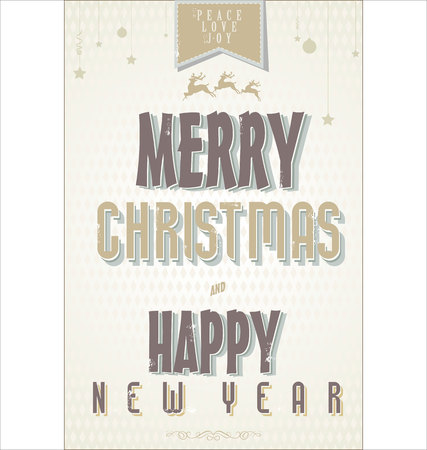 Retro Vintage Merry Christmas and Happy New Year Background Vector