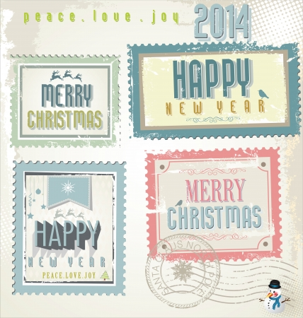 Vintage Christmas post stamps Vector