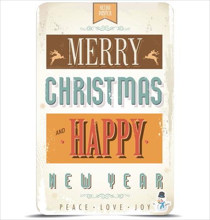 Retro Vintage Frohe Weihnachten und Happy New Year Hintergrund Vektorgrafik