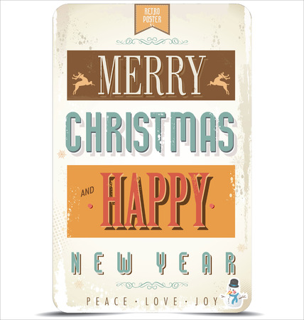 christmas border: Retro Vintage Merry Christmas and Happy New Year Background Illustration