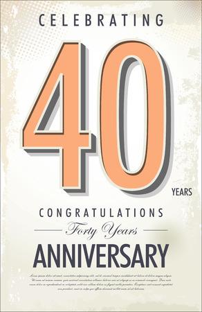 40 years anniversary retro background Stock Vector - 22231279
