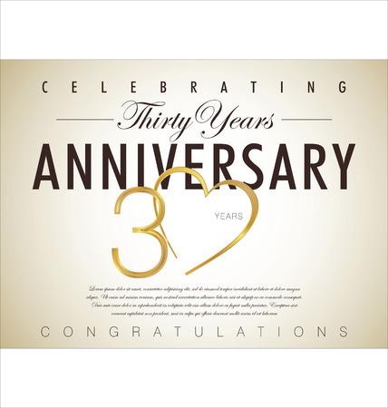anniversario matrimonio: 30 anni anniversario sfondo retrò Vettoriali