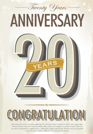 20 years anniversary retro background Vector