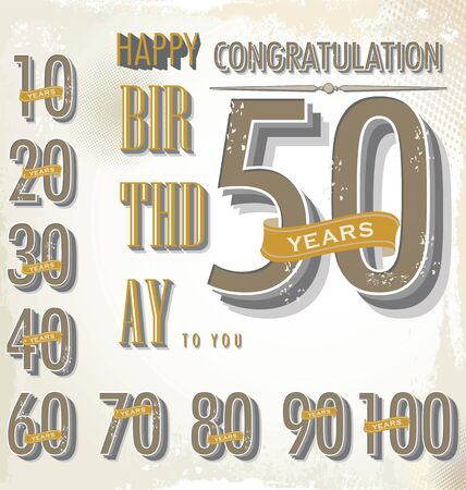 50 to 60: happy birthday retro sign collection