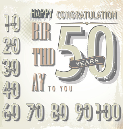 60 70: happy birthday retro sign collection