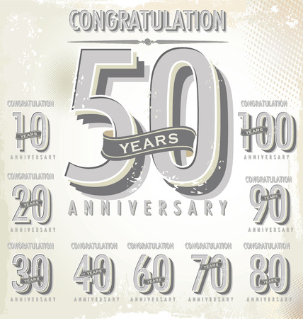 10 number: Anniversary sign collection, retro design