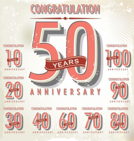 50 to 60: Anniversary sign collection, retro design