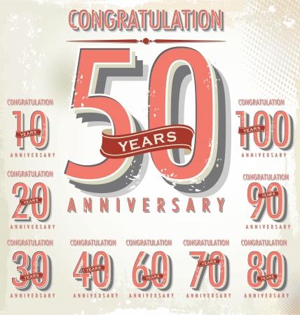 30 to 40: Anniversary sign collection, retro design