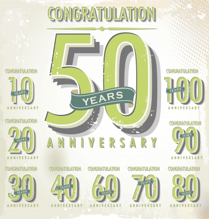 anniversary backgrounds: Anniversary sign collection, retro design