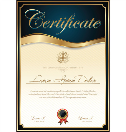 証明書または卒業証書のテンプレート、ベクトル イラスト