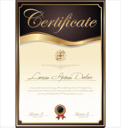 diploma: Certificado o diploma de plantilla, ilustraci�n vectorial Vectores