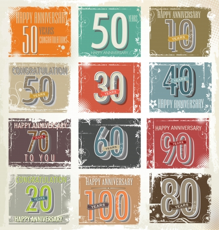 Collection of retro grunge anniversary labels Vector