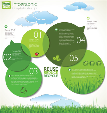 water cycle: modern ecology design template  Illustration