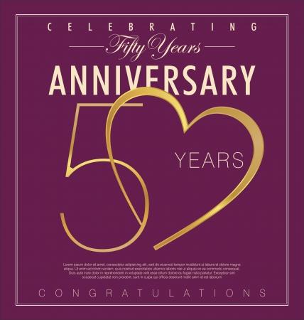 anniversario matrimonio: 50 anni Anniversario sfondo retrò Vettoriali
