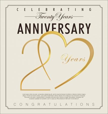 mariage: 20 années anniversaire rétro fond Illustration