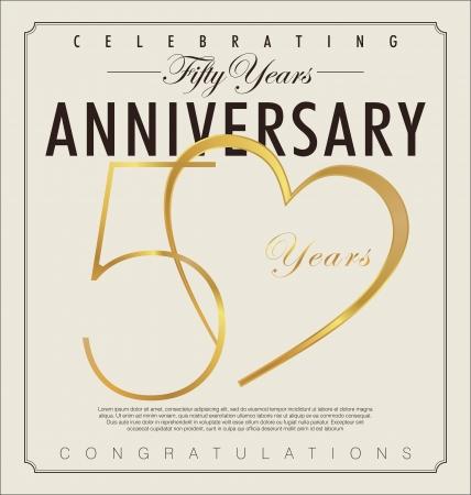 anniversario di matrimonio: 50 anni Anniversario sfondo retr� Vettoriali